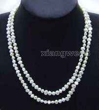 "SALE Long 40""  White 6-7mm Baroque Natural freshwater pearl necklace-nec6115"