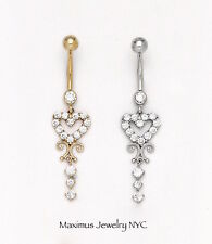 14K Solid Gold Heart Shape Drop Dangle w/ CZ Navel Belly Ring