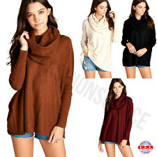 Womens Oversized Slouchy Cowl Neckline Dolman Long Sleeve Sweater Pullover