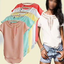 Women Lady Casual Chest Hollow Shortsleeve Plain Chiffon Hem Summer Blouses Tops