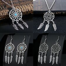 Retro Dream Catcher Pendant Charm Chain Choker Necklace + Earrings Set Jewelry