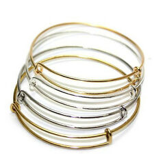 Smooth Spring Stainless Steel Circle Bracelet Women's Jewelry Silver Adjustable