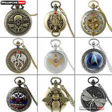 Antique Steampunk Pendant Mens Pocket Watch Vintage Retro Quartz Necklace Chain