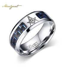 Cool Men Masonic Rings Stainless Steel Wedding Rings for Men Jewelry With Blue &