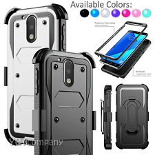 New Hybrid Rubber Armor Holster + Belt Clip Case Cover for Motorola Moto G4 Plus