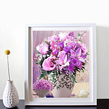 DIY 5D Diamond Painting Vase Purple Flowers Embroidery Cross Stitch Home Decor U