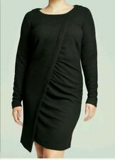 New! DKNYC Women's Long-Sleeve Textured Black Dress with Ruched Side Size S, XL