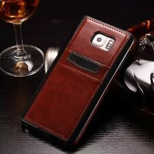 Luxury Slim Leather Card Slot Wallet Back Case Cover Skin For Samsung iPhone