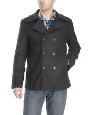 Kenneth Cole Reaction Solid Charcoal Gray Wool Blend Double Breasted Peacoat