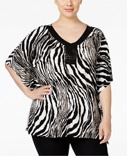 NWT JM Collection Woman Plus Size Embellished Zebra-print Blouse Top 1X/2X/3X
