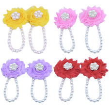 Infant Newborn Barefoot Ring Sandals Shoes Chiffon Rose Flower Pearl Feet Toes