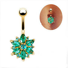 Belly Button Rings Jewelry  Crystal Rhinestone Flower Navel Bar Body Piercing
