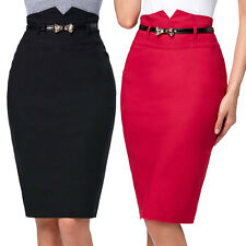With Metallic Bow Skinny Belt Sexy Ladies Casual High Waist Stretch Pencil Skirt