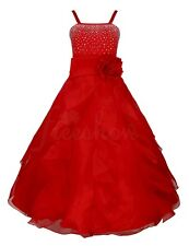 Pageant Flower Girl Red Dress Kids Birthday Wedding Bridesmaid Gown Formal Dress
