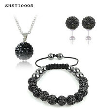 Crystal Shamballa Set Necklace Set Pendants Bracelet Earring Studs Jewelry Set