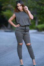 Grey Slit Wide Open Jumpsuit LC60752 women summer fall 2016 new fashion romper
