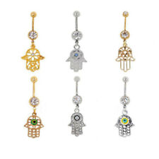 Rhinestone Hamsa Symbol Navel Belly Button Rings Navel Bar Body Piercing Jewelry