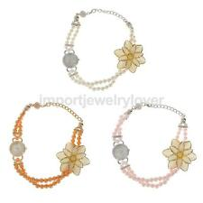 Fashion Pearl Flower Bracelet Bangle Wristwatch Quartz Watch Women Girls Gift