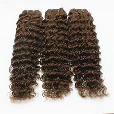 100g Brazilian Virgin Deep Wave Curly Human Hair Extensions #4 Chocolate Brown