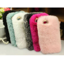 Fashion Luxury Furry Rabbit Fur Bling Crystal Rhinestone Case Cover for Iphone