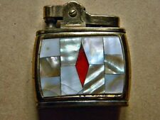 ANTIQUE METAL LIGHTER SAROME ROBIN MOTHER OF PEARL RED STONE NEED REPAIR
