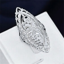 Fashion Cute Silver Plated Metal Filled Hollow Big Ring Ladies Women Rings Hot a