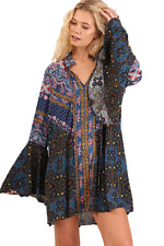 Umgee Blue Multi Patchwork Gypsy Boho Tunic Top Dress Long Bell Sleeves