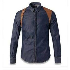 DSQ Mens Long Sleeve Jeans Denim Shirts Leather Motorcycles Biker New Fashion