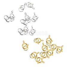 10pcs Sterling Silver Round Spring Ring Clasp Jewelry Making Finding Gold/Silver