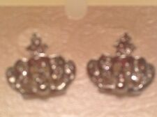 """1"""" Clear Crystal in Silver Plated or Gold Plated Crown Pierced Earrings"""