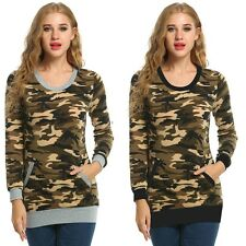 Casual Slim Women Long Sleeve O-Neck Camouflage Print Blouse Tops with Pocket