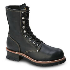 "Mens Black 9"" Logger Oiled Leather Steel Toe Work Boots BAT-901 Size 5-13 (D, M)"