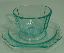INDIANA GLASS MADRID RECOLLECTION TEAL AQUA CUP & SAUCER EXCELLENT