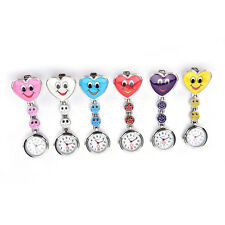Smile Face Heart Clip-on Nurse Doctor Brooch Pendant Fob Pocket Quartz Watch abu