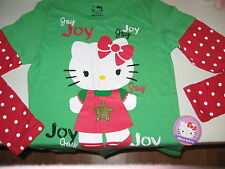 GIRLS HELLO KITTY TOP SIZE XLARGE 14-16 TSHIRT TOP HOLIDAY RED/GREEN NWT