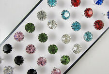 40pcs Lots Womens Silver Plated Mix Colors Elegant Crystal Earring Stud+Box