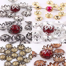 100Pcs 12X5MM Charms Filigree Flower Cone End Metal Flower Bead Caps Jewelry DIY