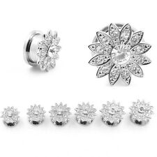 Pair Stainless Steel Ear Tunnel Plug Crystal Flower Ear Gauge Stretcher Quality