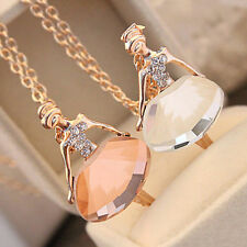 Gold Plated Sweater Chain Shiny Crystal Ballet Girl Fashion Pendant Necklace