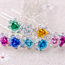 5pcs Pretty Lady Rose Flower Style Crystal Rhinestone Hairpins Hair Accessories