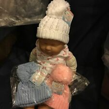 Baby Babies Bobble Hat Pink White Blue Boys Girls Winter Hat 12-24 months Cable