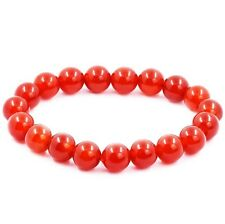 7.5 inch Red Agate Stone Bead Bracelet Elastic Stretch Chic Onyx Bangle Jewelry