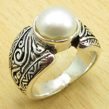 925 Sterling Silver Plated FRESH WATER PEARL TRADITIONAL Ring Size US 5 3/4 NEW