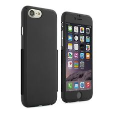 Black Hybrid 360° Silicone Ultra Thin Case Cover Tempered Glass For iPhone 7 7 +
