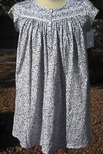 """NWT MED LG XL Eileen West Gray Floral Cotton Knit Short 36"""" Cap Slv Nightgown"""