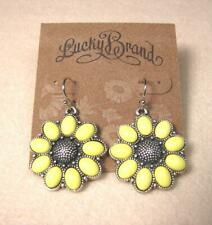NEW LUCKY BRAND SUNFLOWER BLOOM DROP DANGLE VINTAGE PUNK HOOK PIERCED EARRINGS