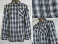 NEW EX M&S Indigo Checked Shirt Blouse Top Black Grey Marks & Spencer Size 8-22