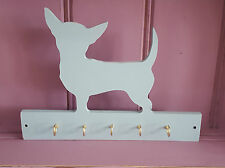 Shabby Chic Chihuahua Dog Wooden Lead Collar Key Rack Hooks Hanger