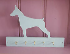 Shabby Chic Dobermann Doberman Dog Wooden Lead Collar Key Rack Hooks Hanger