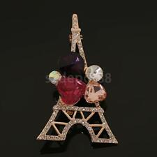 Fashion Crystal Rhinestone Paris Eiffel Tower Brooch Pin Gift for Kids Women Men